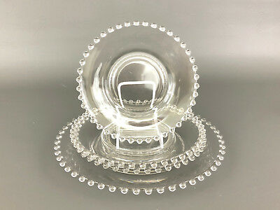 vintage Imperial Glass Co. clear glass plates, 3 sizes CANDLEWICK 1940's