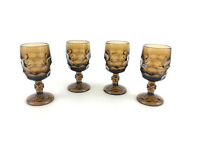 4 Viking Glass Co. Georgian cordial / wine glasses, brown, Honeycomb 1960s 1970s