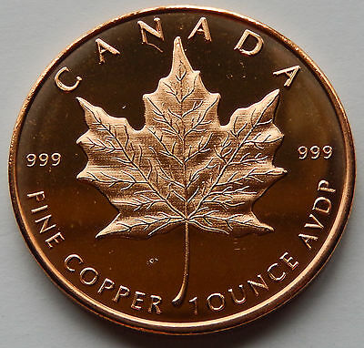 2013 One Ounce Copper Round - Canada Maple Leaf, Obverse USA Shield BU   SB4842