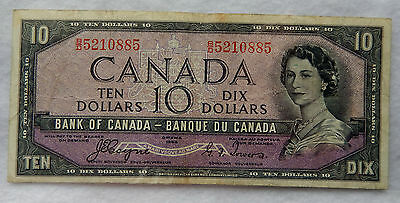 "1954 Canada 10 Dollar ""Devil's Face"" Banknote P.69.a ""Coyne - Towers"" SB3885"