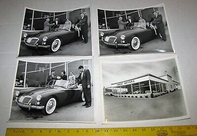 4 LOGAN MOTOR DEALER PROMO PHOTOGRAPH 1960's MG CONVERTABLE YORK / RED LION PA