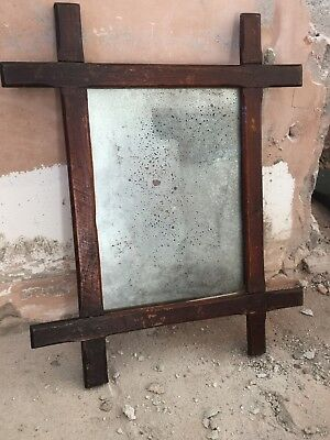 Vintage Distressed Antique Glass Mirror Wooden Frame Foxed Plate