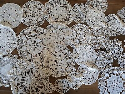 Large Lot Of Vintage Antique Hand Crocheted Doilies Runners Table Cloths Wedding