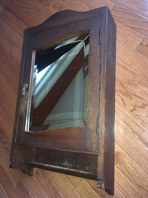 Antique Vintage Oak Medicine Cabinet with Mirror