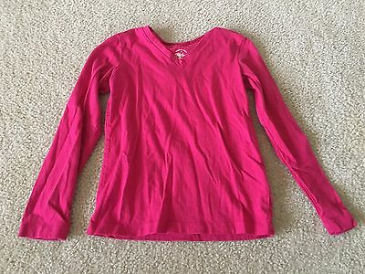 Faded Glory Girl's Bright Pink V-Neck Long-Sleeve Lightweight Shirt, Size 6-6X