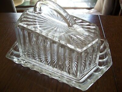 VINTAGE PRESSED GLASS CHEESE DISH PLATE & LID aRT dECO DESIGN