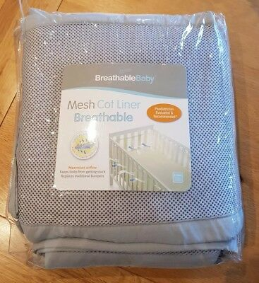 BreathableBaby 4 Sided Mesh Cot Liner Breathable (Grey)