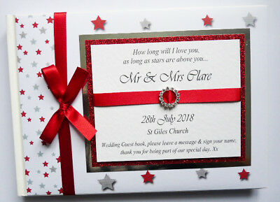Personalised Stars And Glitter Wedding Guest Book With Diamonte Buckle (Red)