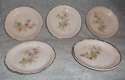 5  - Vintage White with Rose Pattern Butter Pat Plates