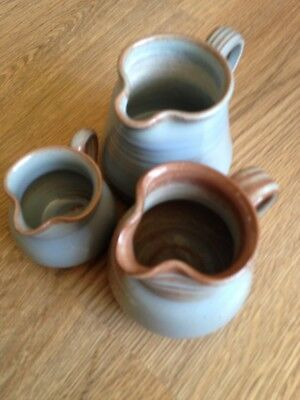 Three Small Prinknash pottery Jugs, Blue with Brown Markings