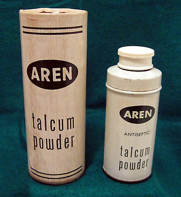 AREN TALCUM POWDER - 2 Ounce Tin  Can and 4 Ounce Cardboard Paper Container