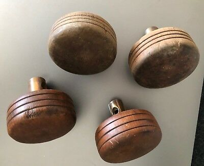 4 Antique or Vintage Wooden Door Knobs Handle Pulls Architectural