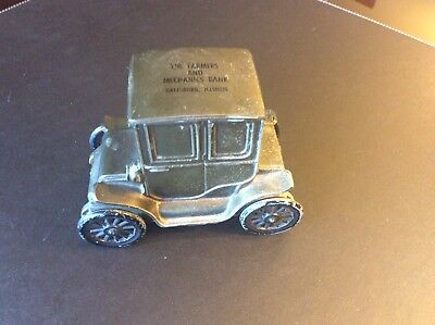 Metal Advertising Coin Bank of 1910 Baker Electric Car for F&M Bank Galesburg IL