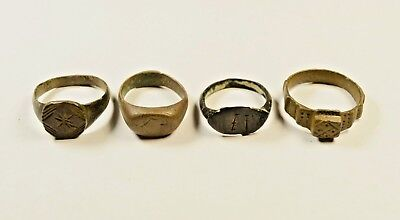 Lot Of 4 Roman / Medieval Decorated Wearable Rings - Great Artifacts