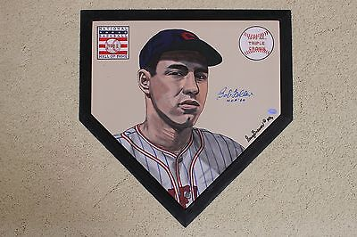 Bob Feller Cleveland Indians HOF signed Hand Painted MLB Homeplate Authenticated