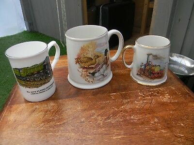 three collectable china tankard two old foley one copperfield
