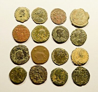 Lot Of 16 Imperial Roman Bronze Coins For Identifying - 055