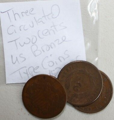 1864 1865 1869  Bronze Two Cent Shield US Type Coins 2c YG You Grade K