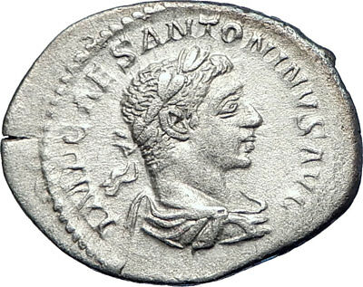 ELAGABALUS 218AD Authentic Ancient Silver Roman Coin SALUS HEALTH i73553