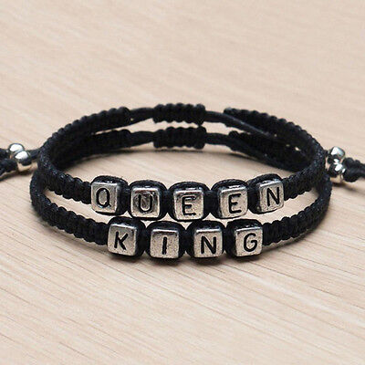 "2*handmade adjustable couples vintage bracelets lovers gift ""King""""Queen""fashion"