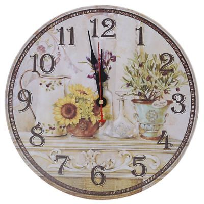 Vintage Antique Style 34cm Wall Clock Home Bedroom Retro Kitchen Quartz (Patt IA