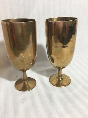 Pair of Vintage Brass Eight Ounce Goblets