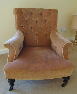 Victorian armchair. Buttoned back and arms. Tan coloured velvet upholstery.