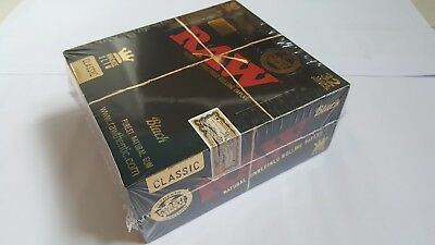 Raw Black King Size Slim Classic Natural Unrefined Rolling Papers(1-50 Booklets)