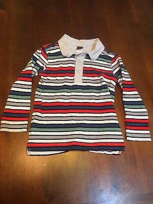 Tea Collection Boys Striped Red White Green 4 4t S Long sleeve CollorEd Henley