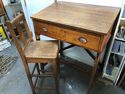 Beautiful old solid wood designer's desk with plan drawer and tall chair