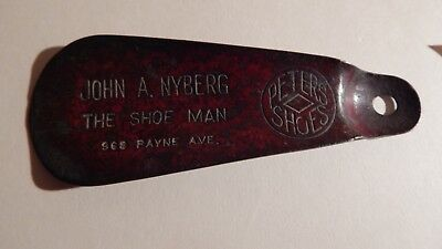 Antique Advertising Shoe Horn for the John A Nyberg Co. selling Peters Shoes