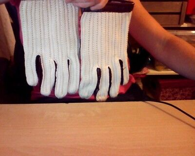 retro driving gloves cotton vinyl mix 1970s cotton knit and leather effect
