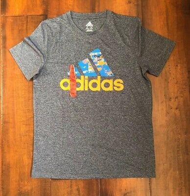 NWT Adidas Boys Athletic Tee Shirt In Gray And Orange Size L (14/16)