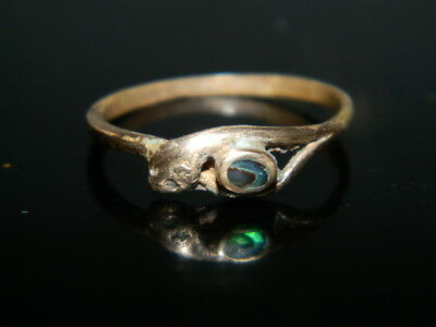 @@@Antiker alter Ring 18 Jh. Goldfarben Messing Seeopal Schlange  Gr.55 @@@