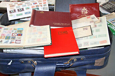 14Kg Suitcase Of Stamps, Albums, Leaves, Covers, Stockcards, Ex Auction Lots Etc