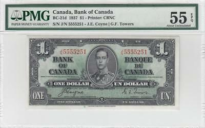 1937 BANK OF CANADA KGVI $1 **Coyne & Towers** ~Consec 1 of 2~ (( PMG 55 EPQ ))