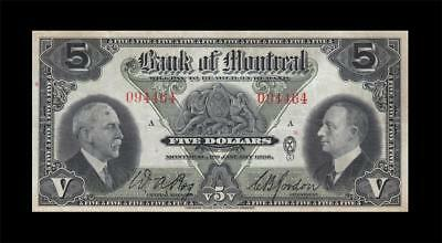 "2.1.1935 Bank Of Montreal Canada $5 **rare** ""a"" (( Ef ))"