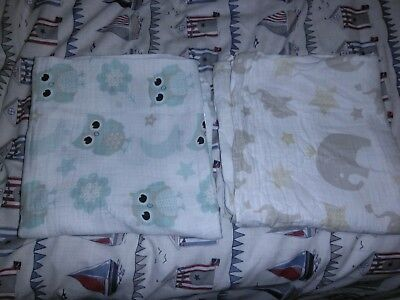 Large Cotton Baby Swaddles Cover Ups 100% Cotton Squares x2