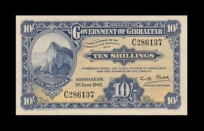1.6.1942 Government Of Gibraltar 10 Shillings **rare** (( Ef ))