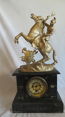 Antique Mantel Marble figural Clock Roman soldier on Horse working