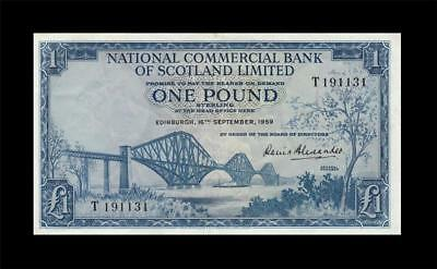 "1959 National Bank Of Scotland 1 Pound ""rare"" (( Ef ))"