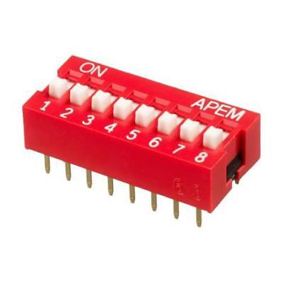 1 x Apem 8 Way Through Hole DIP Switch SPST, Raised Actuator NDS-08-V