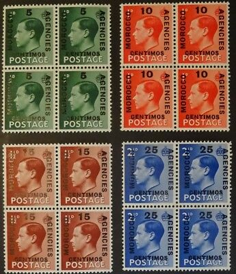 MOROCCO 1936 BLOCKS OF 4 OVERPRINTS #s 78-81 ON KING EDWARD VIII #s 230-233 MNH