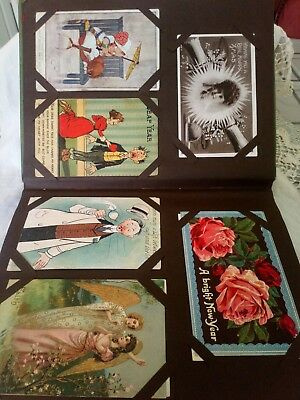 130 Mixed Vintage Postcards In Old Album Humour, Art, People, Greetings, Topo