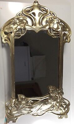 WMF Art Nouveau / early Edwardian  maiden lady  large table mirror.