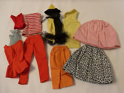Lot Vintage Barbie Clothes w/ Tags Skirts Pants Dress Harlequin Costume 1960's