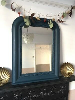 Lovely F&B Hague Blue Painted Antique/Vintage French Louis Foxed Mirror