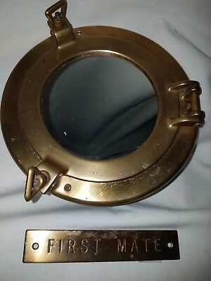 Vintage 8 inch BRASS Porthole Mirror First Mate Name Plate w/Mirror