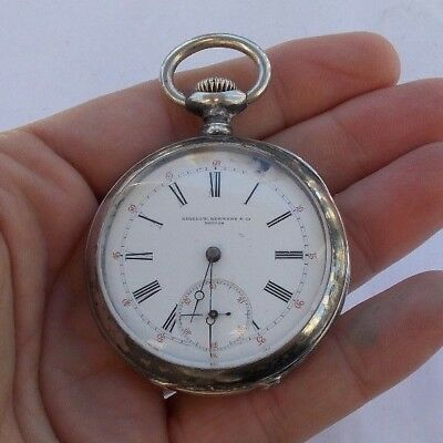 Vintage Antique Sterling Silver 935 Bigelow Kennard & Co. Wind Up Pocket Watch