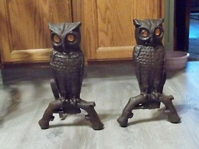 Old Pair Cast iron  Owl Andirons amber colored glass eyes -Reflective Eyes